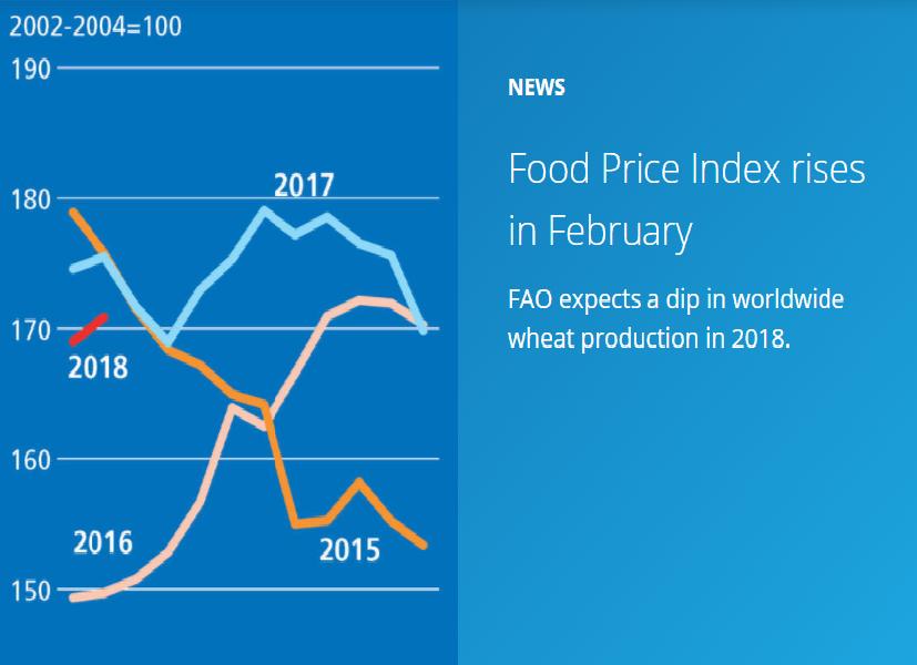افزایش شاخص قیمت جهانی محصولات غذایی فائو در ماه فوریه