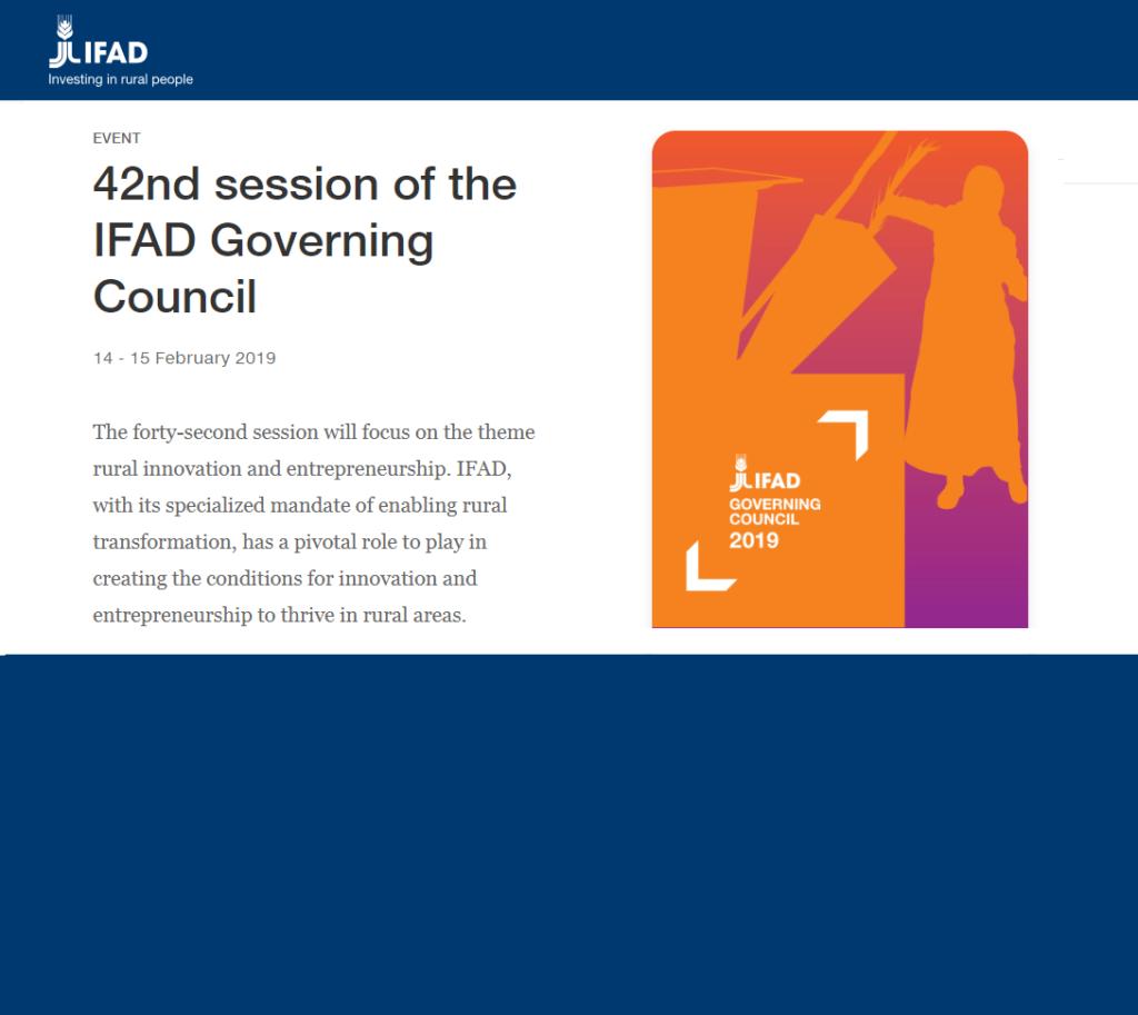 چهل و دومین نشست شورای حکام صندوق بین المللی توسعه کشاورزی 14 تا 15 فوریه 2019