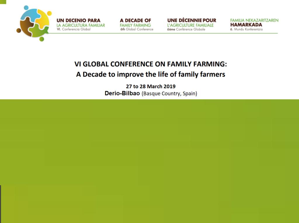 پنجمین کنفرانس جهانی کشاورزی خانوادگی 25 الی 29 مارس 2019