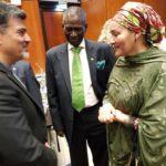 دیدار آقای دکتر عمادی با خانم امینه محمد معاون دبیرکل سازمان ملل  درروز همکاری های جنوب جنوب سازمان ملل متحد