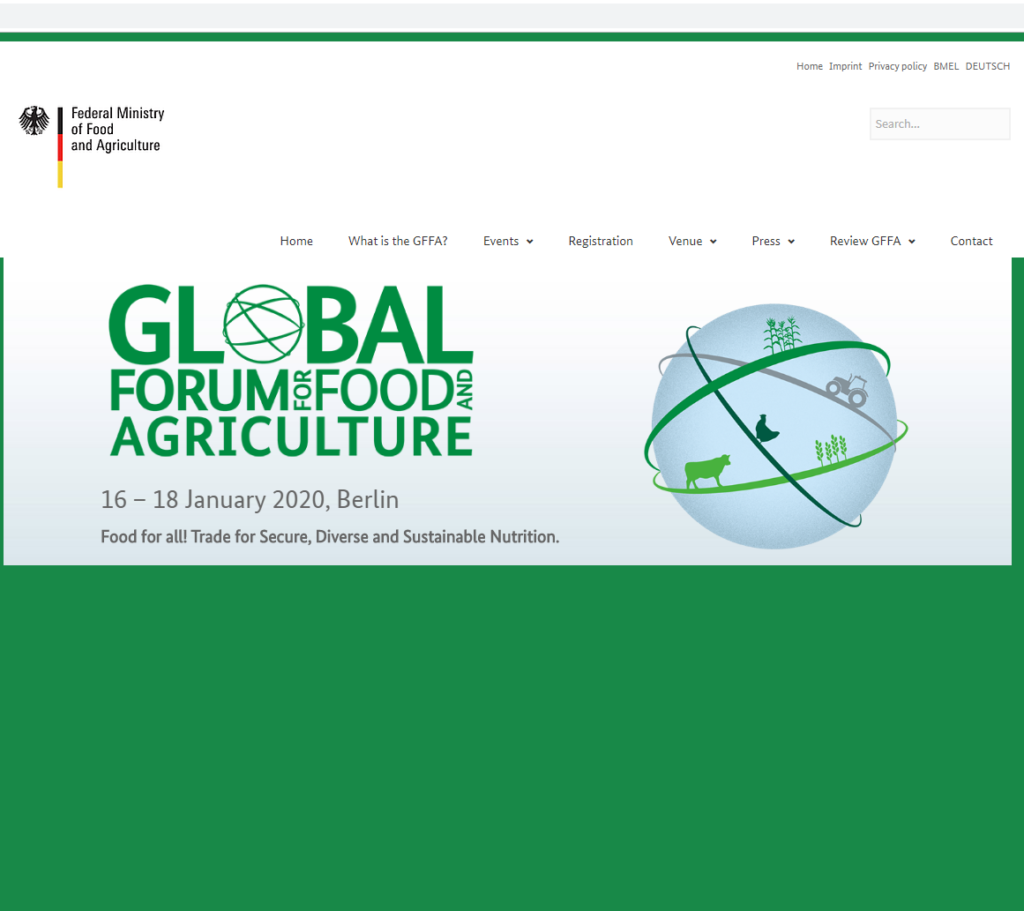 Global Forum for Food and Agriculture (GFFA),16 to 18 January 2020 Berlin