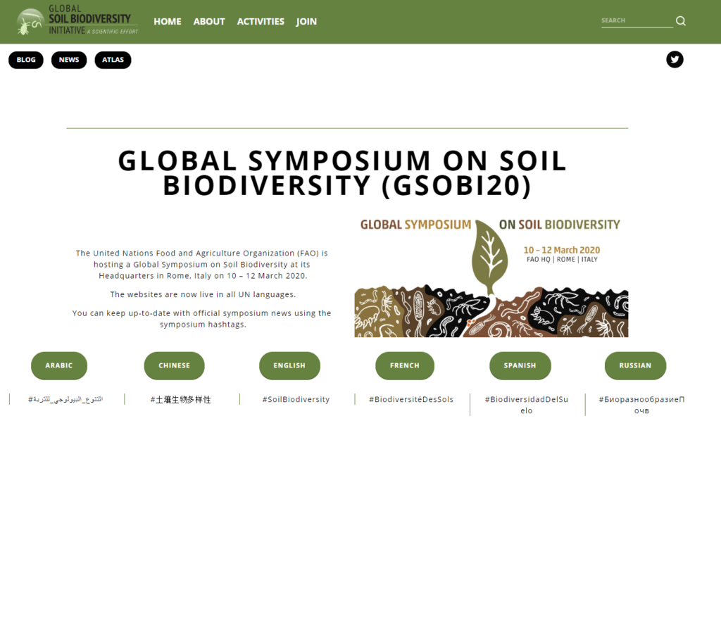 The Global Symposium on Soil Biodiversity 10-12 March,2020