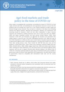 بازارها و تجارت محصولات کشاورزی : سیاستگذاری در دوران کوید